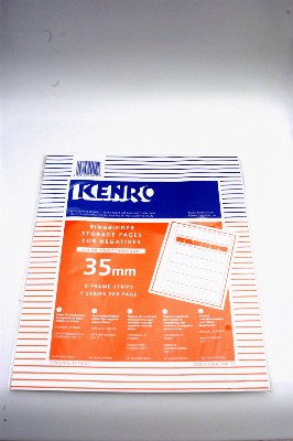 KENRO 35mm (clear print through) STORAGE NEGATIVE PAGES 25 SHEETS